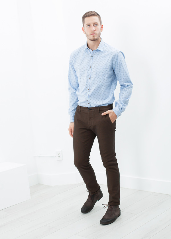 Men's Pence Diamond Weave Trouser in Brown