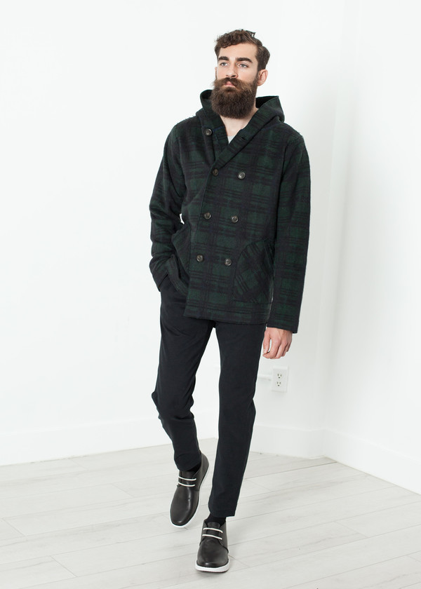 Men's V:Room Double Breasted Hoodie in Forest Plaid