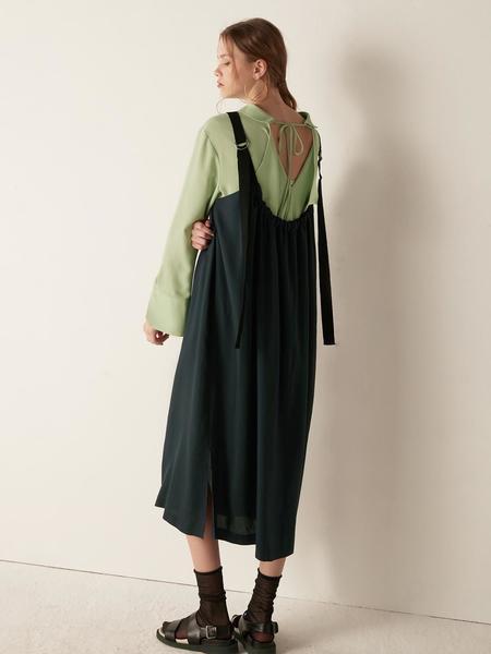BEMUSEMANSION Shirring Layered Dress - Navy
