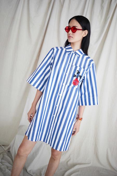 WHiT Beau Dress in Blue/White Vertical Stripes