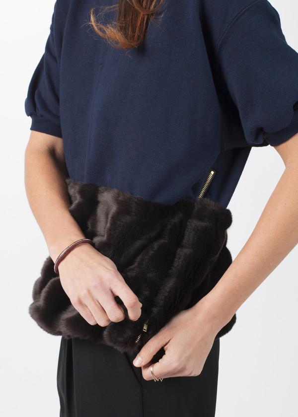 Harvey Faircloth Fur Short Sleeve Sweater