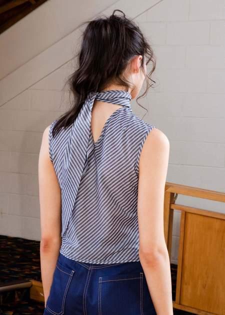 Penny Sage Roque top - slate stripe