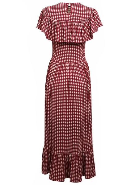 Baum und Pferdgarten Jannie Frill Hem and Sleeve Smocked Dress - Tawny/Pastel Check