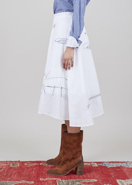 Yoshi Kondo Helen Embroidered Skirt - White