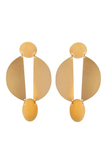 Annie Costello Brown Split Circle Earrings - Gold