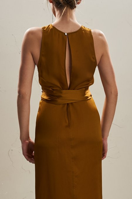 The Great Eros Odna Wrap Front Dress - Brass