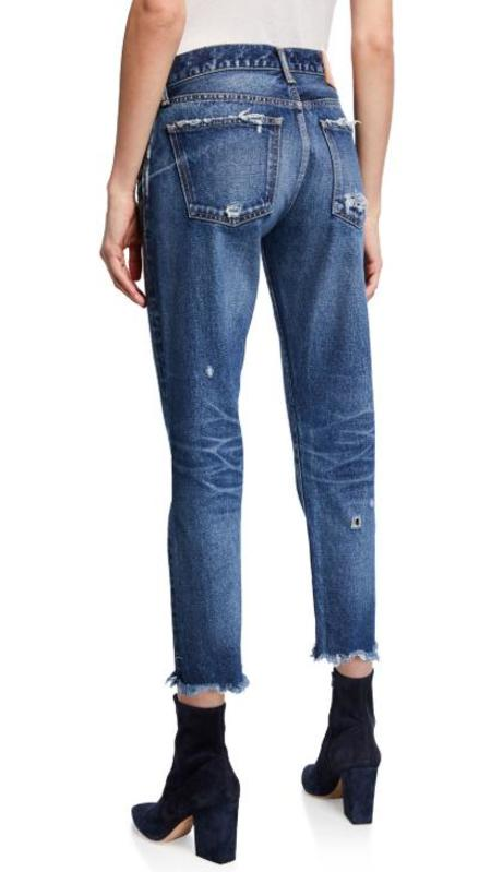 Moussy Kelley Tapered Distressed Denim - blue