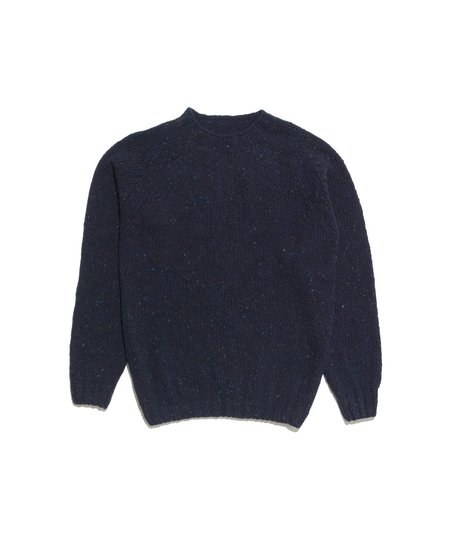 Freemans Sporting Club Crewneck Donegal Sweater - Sheridan Navy