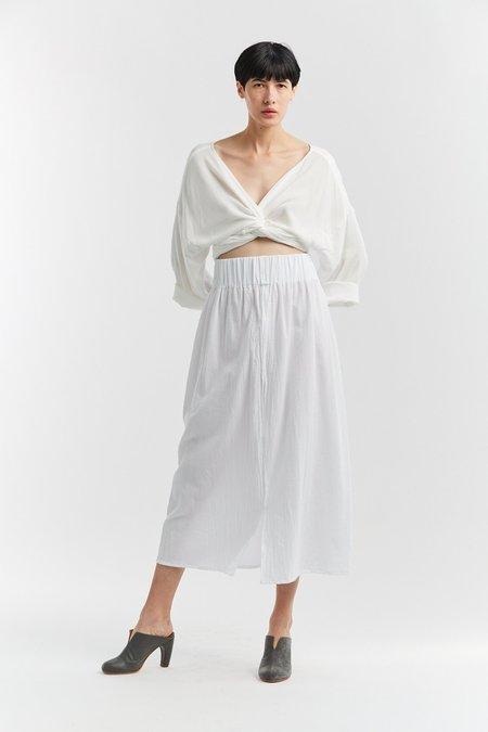5afc9efbe0 ... Miranda Bennett Textured Cotton Paper Bag Skirt - White