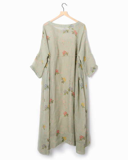 Pero Printed Linen Dress - Faded Blue