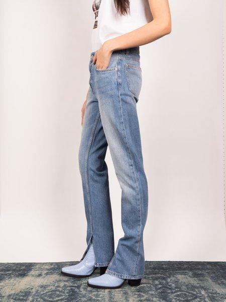 Ganni Denim Slit Pants - Bleached Denim