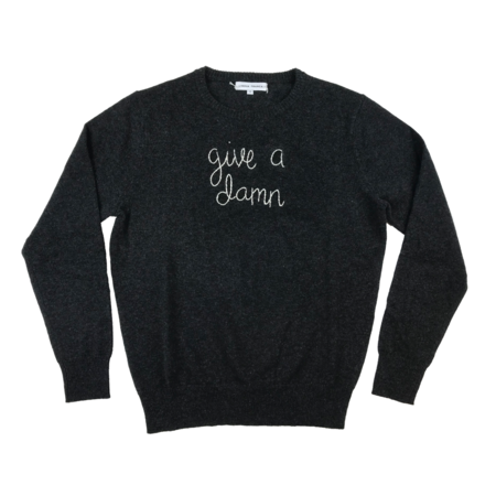 Lingua Franca Give A Damn Embroidered Sweater - Navy