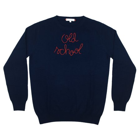 Lingua Franca Old School Embroidered Sweater - Navy