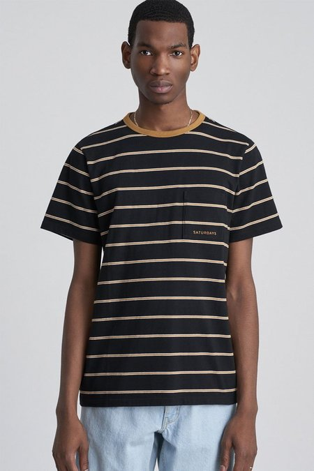 Saturdays Surf NYC Randall Stripe Short Sleeve Tee - Black
