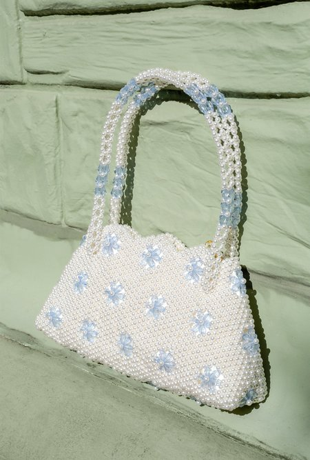Shrimps Flower Detail Beaded Bag - Cream/Blue