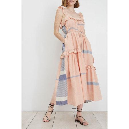 Apiece Apart Lypie Ruffle Tank Dress - Cote Stripe Red