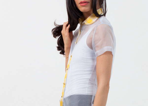 Harvey Faircloth Sheer Button-Up Blouse in Pale Blue