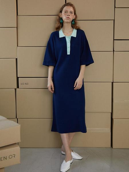 En Or Coloration Knit Long Dress - Navy