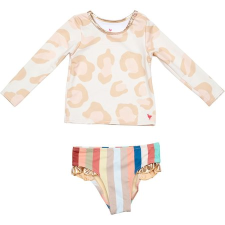 Kids Pink Chicken Baby Rash Guard Set - Antique White Oversized Leopard