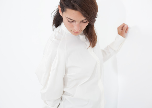 Gianfranco Scotti Trim Collar Poplin Blouse in Off White
