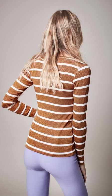 Smythe Nautical Scoop Neck Top - Metallic Bronze Stripe