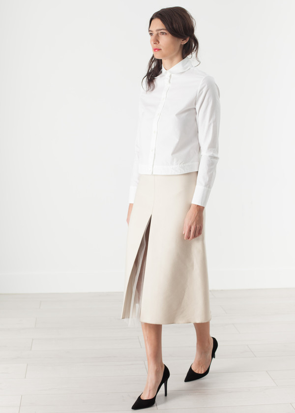Ter et Bantine Tulle Pleat Skirt in Cream