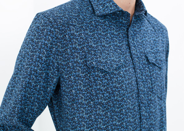 Men's Aglini Western Arkansas Button-Up in Blue Floral