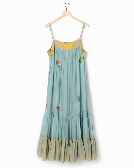 Pero Embroidered Sundress - Blue