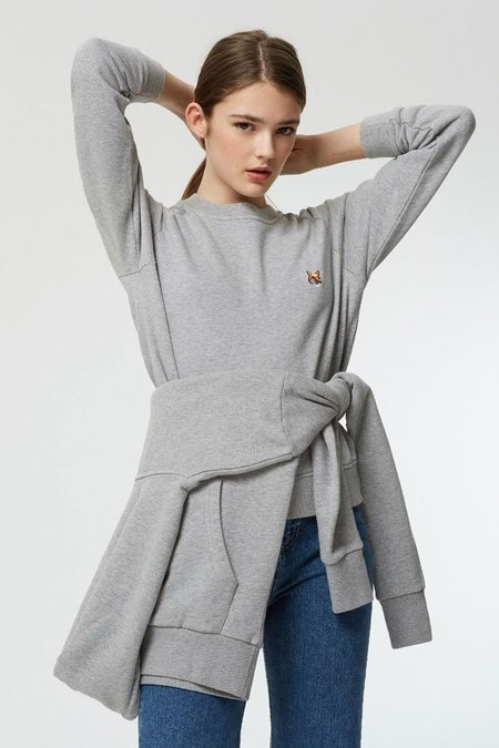 Kitsune Fox Head Patch Sweatshirt - Grey