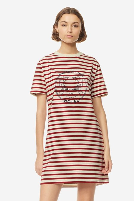 Kitsune Marin T-Shirt Dress - Ecru/Red