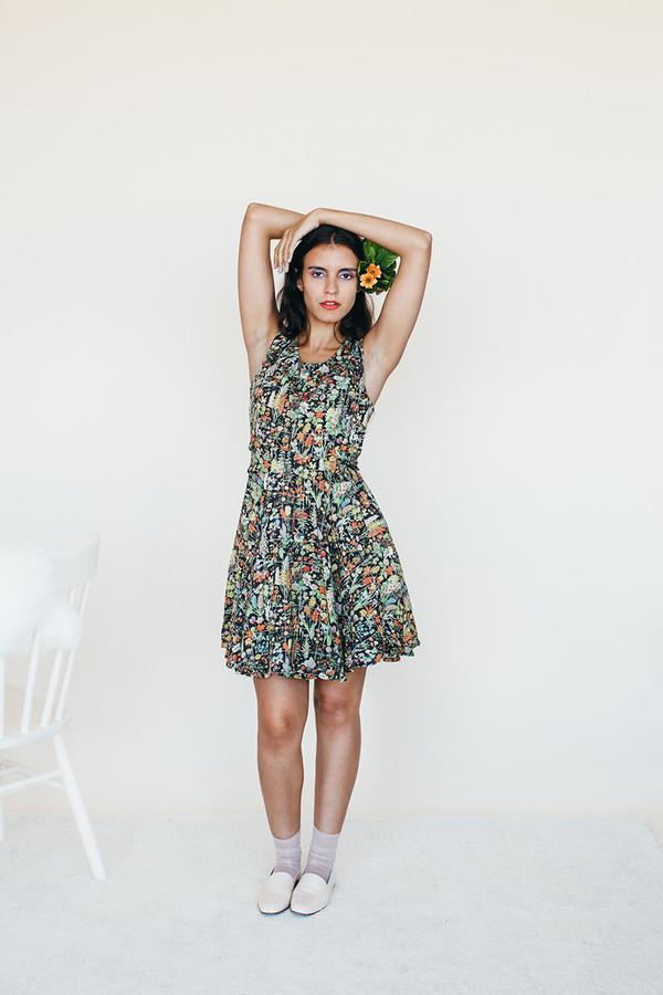 Samantha Pleet Strata Dress - Black Floral Print