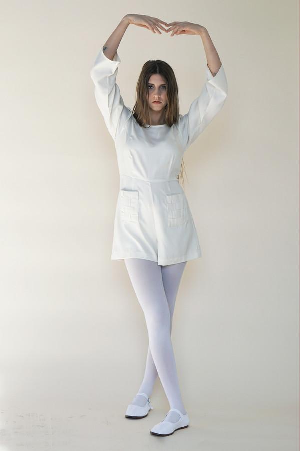 Samantha Pleet Basket Romper - Ivory