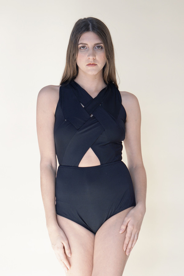 Samantha Pleet Basket Swimsuit - Black