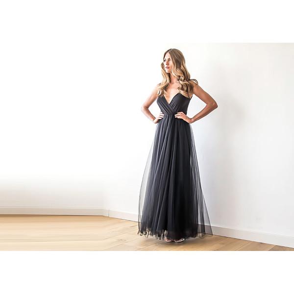 Blush Black Tulle Maxi Dress