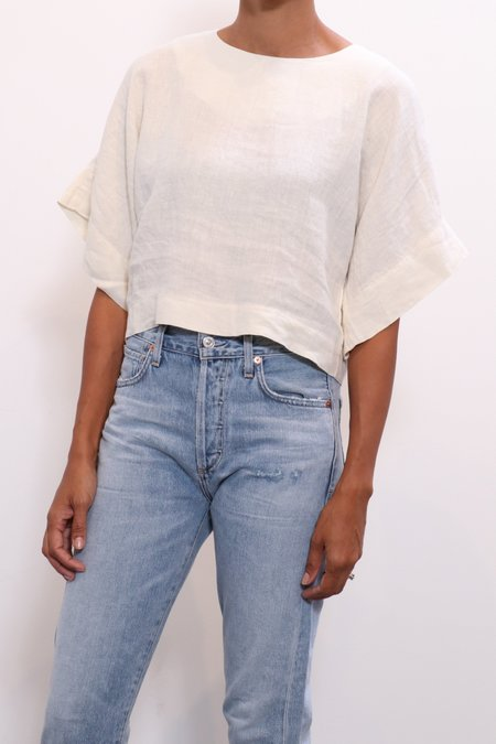 Black Crane Petal Top - Cream