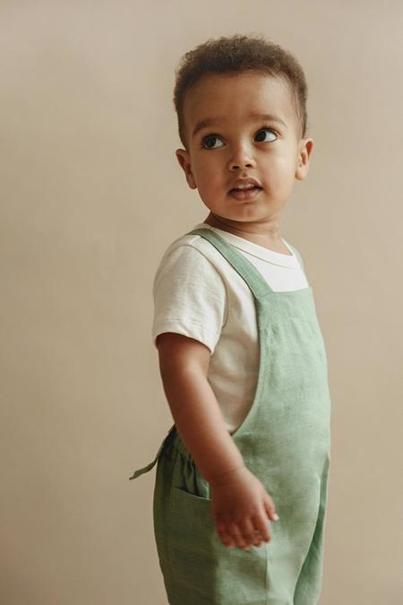 kids Petits Vilains Gabriel Short Overalls - Eucalyptus