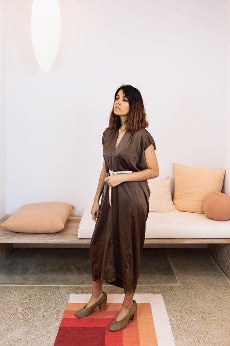 Miranda Bennett Sunrise Collection: Silk Charmeuse Knot Dress - Acacia Iron V.I
