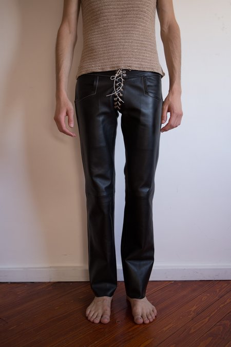 LUDOVIC DE SAINT SERNIN Lamb Leather Eyelet Slim Pants