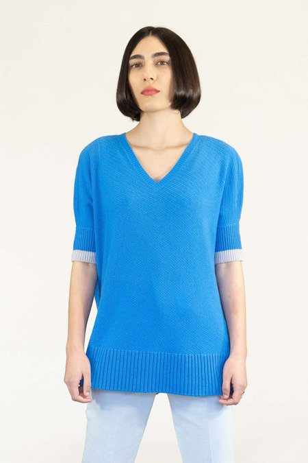 Duffy Cashmere Short Sleeve Sweater - Sailor Blue