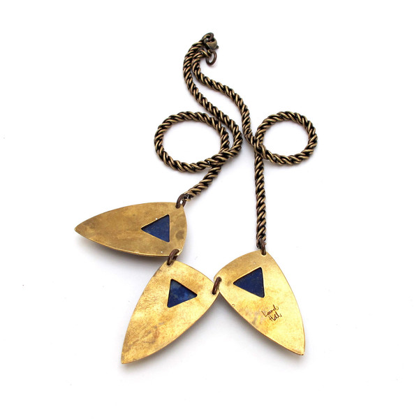 Laurel Hill Triple Shield Necklace // Lapis