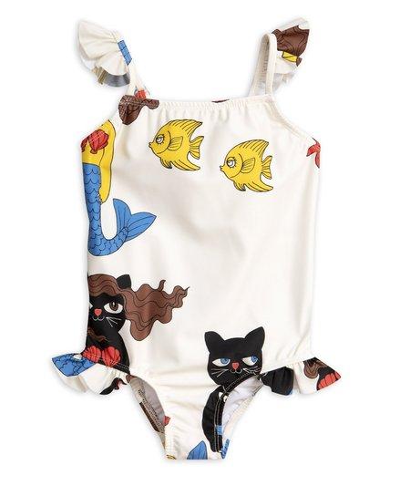 kids Mini Rodini Cat Mermaid Wing Swimsuit - white