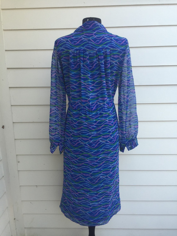 70's abstract print blue Japanese dress size XL