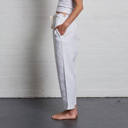 In Bed Linen Pants - White