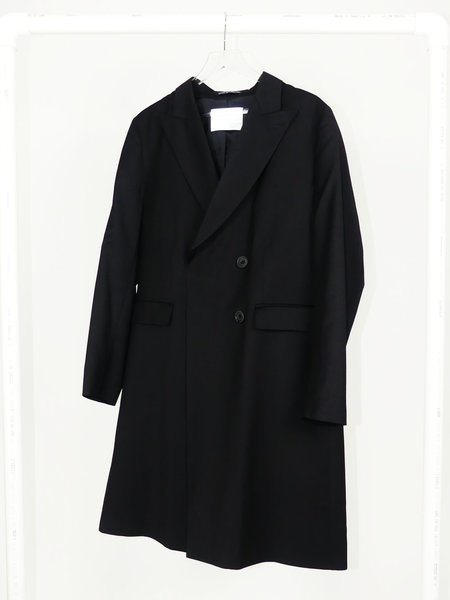 MATTHEW MILLER DOUBLE BREASTED TAILORED OVERCOAT - BLACK