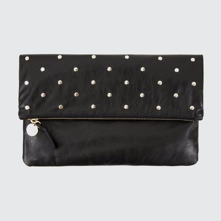 Clare V. Studded Foldover Clutch - black