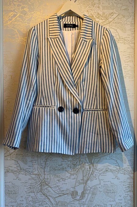 Icons Double Breasted Blazer - Indigo Striped