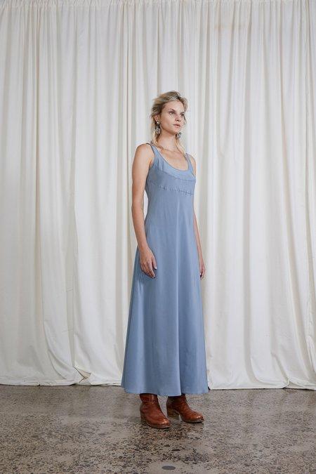 OVNA OVICH Silk Crepe 4th Wave Dress - Steel