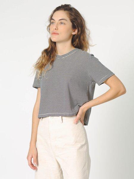 Calder Blake Crop Rampling Stripe Tee - Natural/Navy Stripe