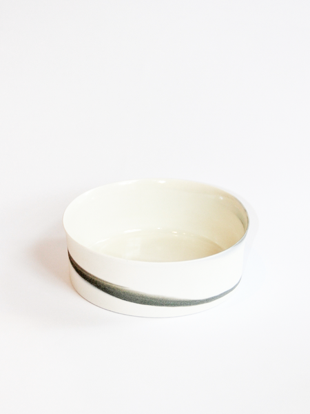 Lilith Rockett Ceramics Small Porcelain Cylindrical Bowl - Grey Swirl