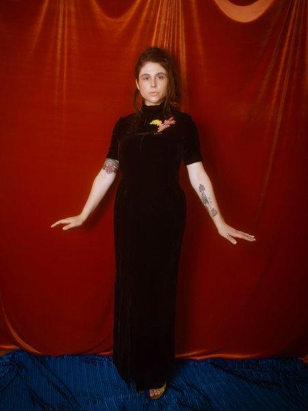 Greta Boldini Asfodelia Embroidered Dress - black